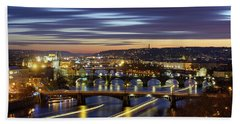 Charles Bridge During Sunset With Several Boats, Prague, Czech Republic Hand Towel