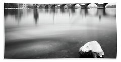 Charles Bridge During Winter Time With Frozen River, Prague, Czech Republic Bath Towel