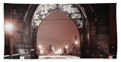 Bath Towel featuring the photograph Charles Bridge In Winter. Prague by Jenny Rainbow