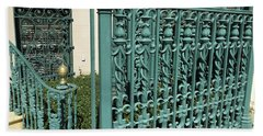 Bath Towel featuring the photograph Charleston Aqua Turquoise Rod Iron Gate John Rutledge House - Charleston Historical Architecture by Kathy Fornal