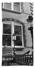 Bath Towel featuring the photograph Charleston French Quarter Architecture - Window Street Lanterns Gothic French Black White Art Deco  by Kathy Fornal