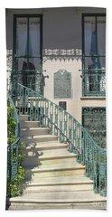 Charleston Historical John Rutledge House - Aqua Teal Gate Staircase Architecture - Charleston Homes Hand Towel