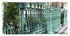 Charleston Historical John Rutledge House Fleur Des Lis Aqua Teal Gate Fence Architecture  Hand Towel