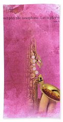 Charlie Parker Saxophone Light Red Vintage Poster And Quote, Gift For Musicians Hand Towel by Pablo Franchi