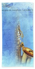 Charlie Parker Saxophone Vintage Poster And Quote, Gift For Musicians Hand Towel by Pablo Franchi