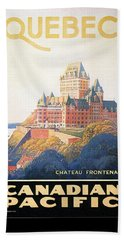 Chateau Frontenac Luxury Hotel In Quebec, Canada - Vintage Travel Advertising Poster Hand Towel