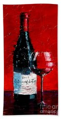 Still Life With Wine Bottle And Glass I Bath Towel