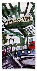 Chatelet Paris Metro Watercolor Sketch Hand Towel