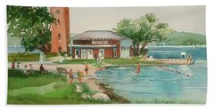Chautauqua Bell Tower And Beach Hand Towel