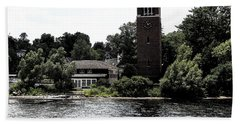 Chautauqua Institute Miller Bell Tower 2 With Ink Sketch Effect Bath Towel