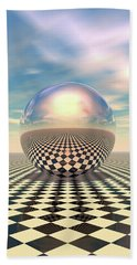 Hand Towel featuring the digital art Checker Ball by Phil Perkins