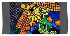 Cheer Up My Friend - Cat Art By Dora Hathazi Mendes Bath Towel