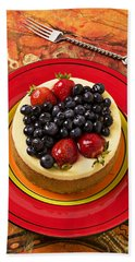 Cheesecake On Red Plate Hand Towel