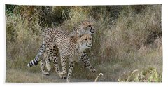 Hand Towel featuring the photograph Cheetah Trot by Fraida Gutovich
