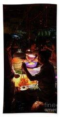 Bath Towel featuring the photograph Chennai Flower Market Transaction by Mike Reid
