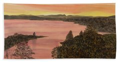 Bath Towel featuring the painting Cherokee Lake - Golden Glow by Joel Deutsch