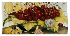 Cherries And Carnations Bath Towel