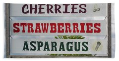 Cherries Strawberries Asparagus Roadside Sign Hand Towel