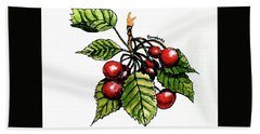 Bath Towel featuring the painting Cherries by Terry Banderas