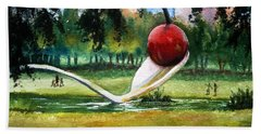 Cherry And Spoon Hand Towel by Marilyn Jacobson