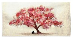 Cherry Blossom And Panda Hand Towel