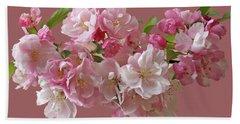 Cherry Blossom On Black Hand Towel by Gill Billington