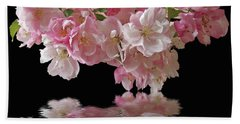 Cherry Blossom Reflections On Black Hand Towel by Gill Billington