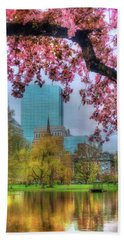 Hand Towel featuring the photograph Cherry Blossoms Over Boston by Joann Vitali