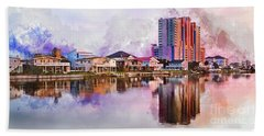 Cherry Grove Skyline - Digital Watercolor Hand Towel