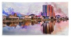 Cherry Grove Skyline - Digital Watercolor Bath Towel