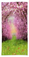 Hand Towel featuring the digital art Cherry Orchard by Matt Lindley