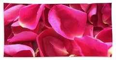 Cherry Pink Rose Petals Hand Towel