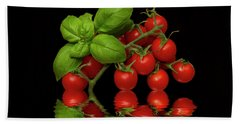 Hand Towel featuring the photograph Cherry Tomatoes And Basil by David French