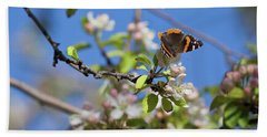 Monarch Butterfly On Cherry Tree Hand Towel