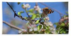 Monarch Butterfly On Cherry Tree Bath Towel