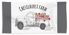 Hand Towel featuring the drawing Chesilhurst Farm by Kim Kent