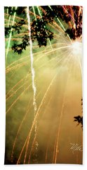 Hand Towel featuring the photograph Chetola Yellow Fireworks by Meta Gatschenberger