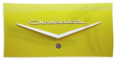 Bath Towel featuring the photograph Chevrolet Bel Air In Yellow by Toni Hopper