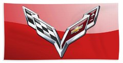 Chevrolet Corvette - 3d Badge On Red Bath Towel