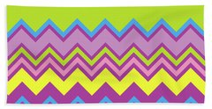 Chevron Bright Green Yellow Blue Purple Zigzag Pattern Hand Towel