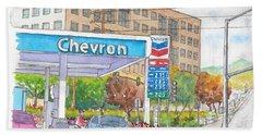 Chevron Gasoline Station In Olive And Buena Vista, Burbank, California Bath Towel