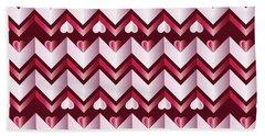 Chevron Hearts Metallic Ruby Red Pink Zigzag Hand Towel