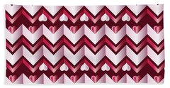 Chevron Hearts Metallic Ruby Red Pink Zigzag Bath Towel