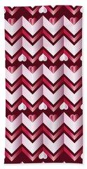 Chevron Hearts Metallic Ruby Red Pink Zigzag Bath Towel