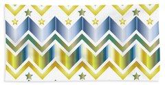 Chevron Metallic Gold Blue Green Gradation Stars Pattern Hand Towel