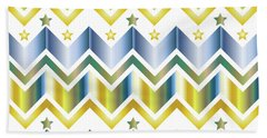 Chevron Metallic Gold Blue Green Gradation Stars Pattern Bath Towel