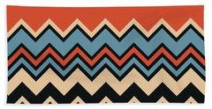 Chevron Orange Blue Beige Black Zigzag Pattern Hand Towel