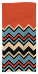 Chevron Orange Blue Beige Black Zigzag Pattern Bath Towel