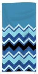 Chevron Summer Cobalt Sapphire Blue Black Zigzag Pattern Bath Towel