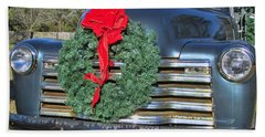 Chevy Christmas Hand Towel by Victor Montgomery